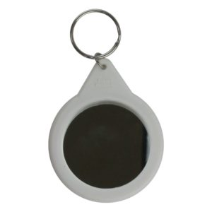 Back of a made up 58mm mirror keyring