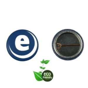 Front and back of made up 25mm open back badge using eco friendly